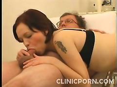 nurse julie walks in and starts examining her