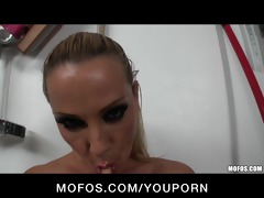 naught big tit golden-haired fingers her ass and