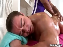 muscled dad in nature as brawny masseur strokes
