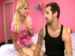 golden-haired stepsister gives her stepbrother a