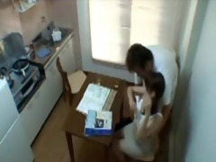 dad fucks sons gf in kitchen