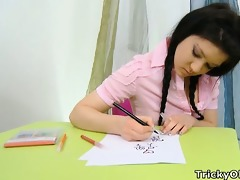 vika is in the school room after misbehaving,