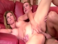 blonde watches her mother getting drilled by her