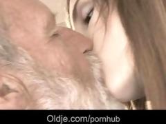 bearded grand-dad cum in tina's juvenile throat