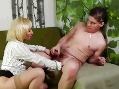 mature golden-haired pussy rub and sucks younger