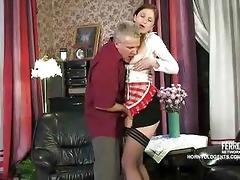 old penis fucks youthful russian maid