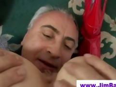 pigtailed slut swallows old mans cum