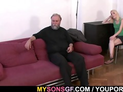 old daddy forces his sons gf engulf his weenie