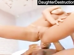 daughter face hole and pussy drilled hard