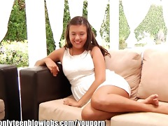 onlyteenbj young teenager maya grands first oral