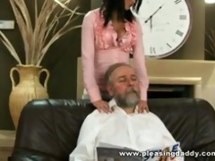 youthful trophy wife fucks old husband