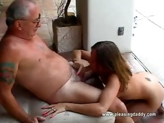 girl gets throat screwed by old guy